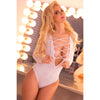 Pink Lipstick - Lace To The Top Bodysuit Costume M/L (White) Costumes 017036517532 CherryAffairs