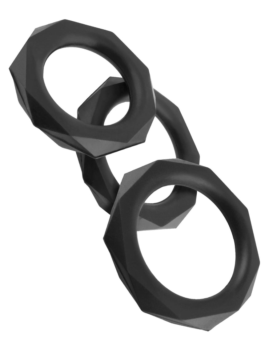 Pipedream - Fantasy C-Ringz Silicone Designer Stamina Cock Ring Set (Black) Silicone Cock Ring (Non Vibration) Singapore