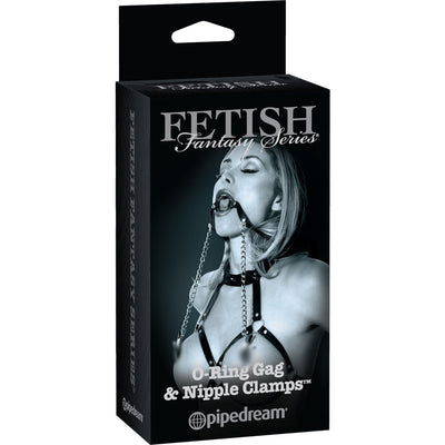 Pipedream - Fetish Fantasy Series Limited Edition O-Ring Gag & Nipple Clamps (Black) Nipple Clamps (Non Vibration) - CherryAffairs Singapore