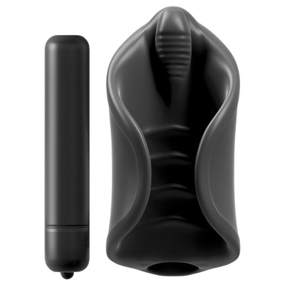 Pipedream - PDX Elite Vibrating Silicone Masturbator (Black) Masturbator Soft Stroker (Vibration) Non Rechargeable - CherryAffairs Singapore