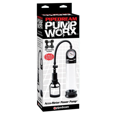 Pipedream - Pump Worx Accu-Meter Power Pump (Clear) Penis Pump (Non Vibration) - CherryAffairs Singapore