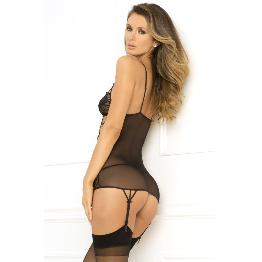 Rene Rofe - 2 Pieces Caged Chemise and G String Set M/L (Black) Chemises 017036517327 CherryAffairs