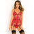 Rene Rofe - 2 Pieces Caged Chemise and G String Set M/L (Red)