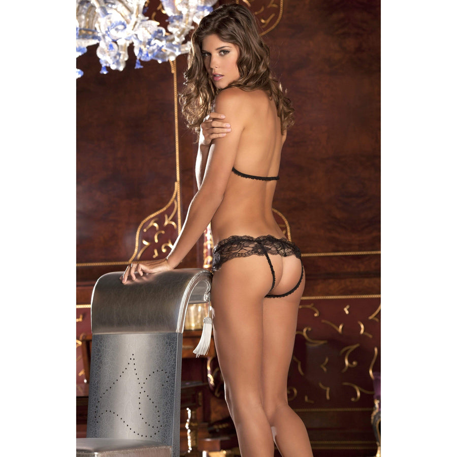 Rene Rofe - 2 Pieces Lace Peek A Boo and Crotchless Panty Set M/L (Black)
