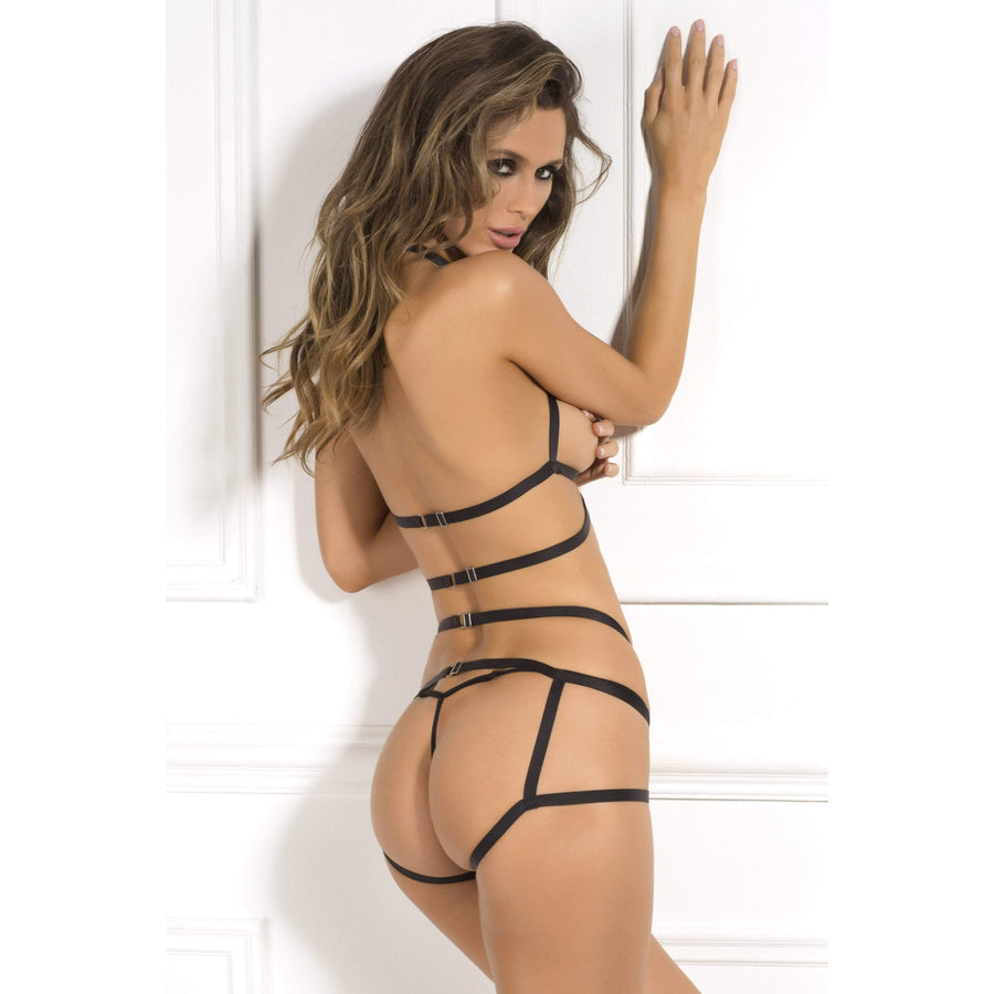 Rene Rofe - 2 Pieces Misbehave Bondage Bra Set M/L (Black)