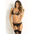 Rene Rofe - 3 Pieces Crave Me Bra Garter G String Set M/L (Black)