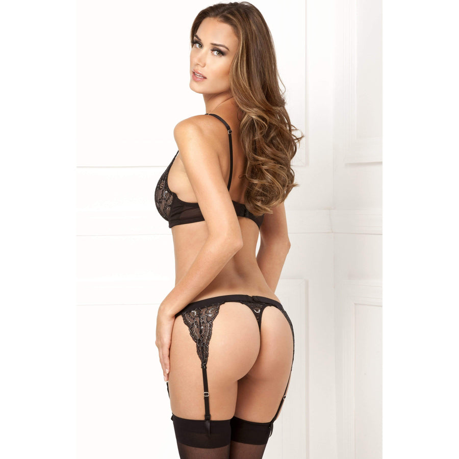 Rene Rofe - 3 Pieces Lux Lace Garter Set Costume M/L (Black)