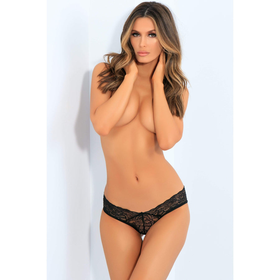 Rene Rofe - All Tied Up Open Back Panty M/L (Black) Lingerie (Non Vibration) 017036000164 CherryAffairs