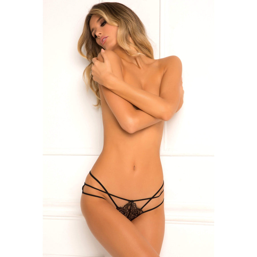 Rene Rofe - Batting Eyelash Buttless Bikin M/L (Black) Lingerie (Non Vibration) 017036506215 CherryAffairs