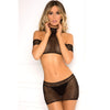 Rene Rofe - Cold Shoulder 2 Pieces Crochet Bodystocking Costume M/L (Black) Costumes 017036659324 CherryAffairs