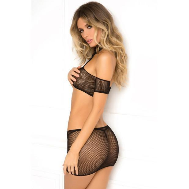 Rene Rofe - Cold Shoulder 2pc Crochet Bodystocking S/M (Black)