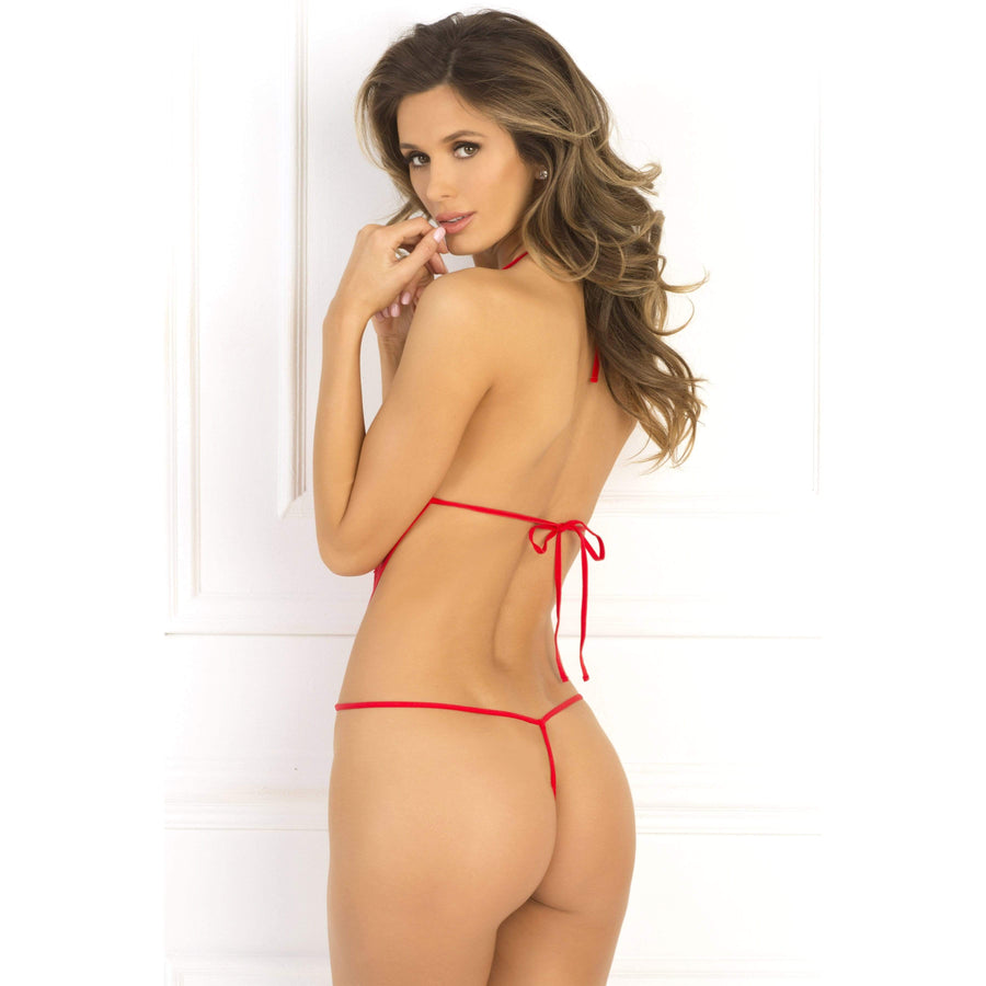 Rene Rofe - Crotchless Lace and Mesh Teddy Costume M/L (Red) Costumes 017036583308 CherryAffairs