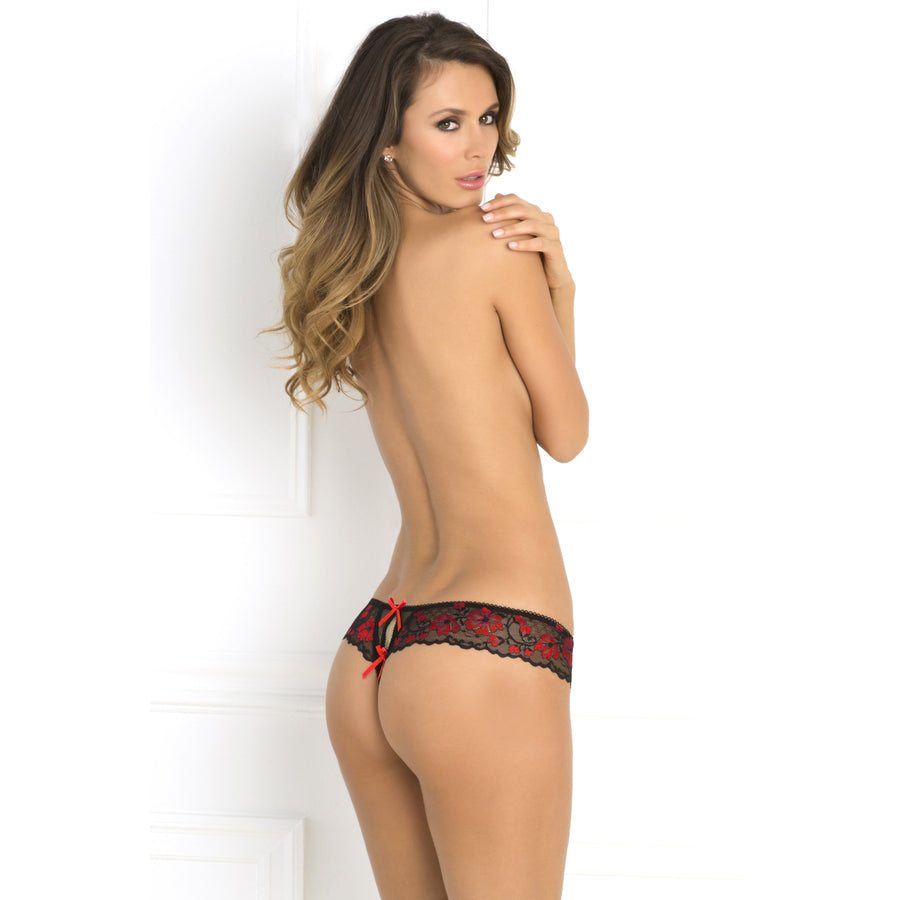 Rene Rofe - Crotchless Lace Thong with Bows M/L (Red) Crotchless Panties 017036469046 CherryAffairs