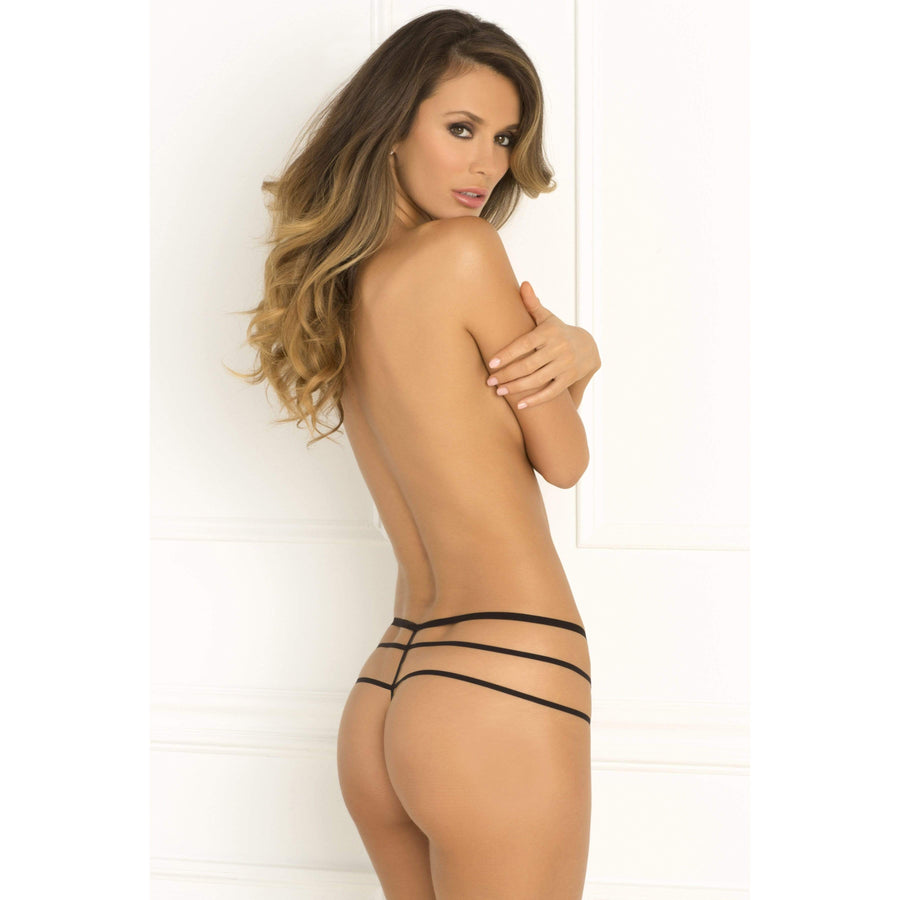 Rene Rofe - Crotchless Wanted and Wild Panty M/L (Black) Crotchless Panties 017036462641 CherryAffairs