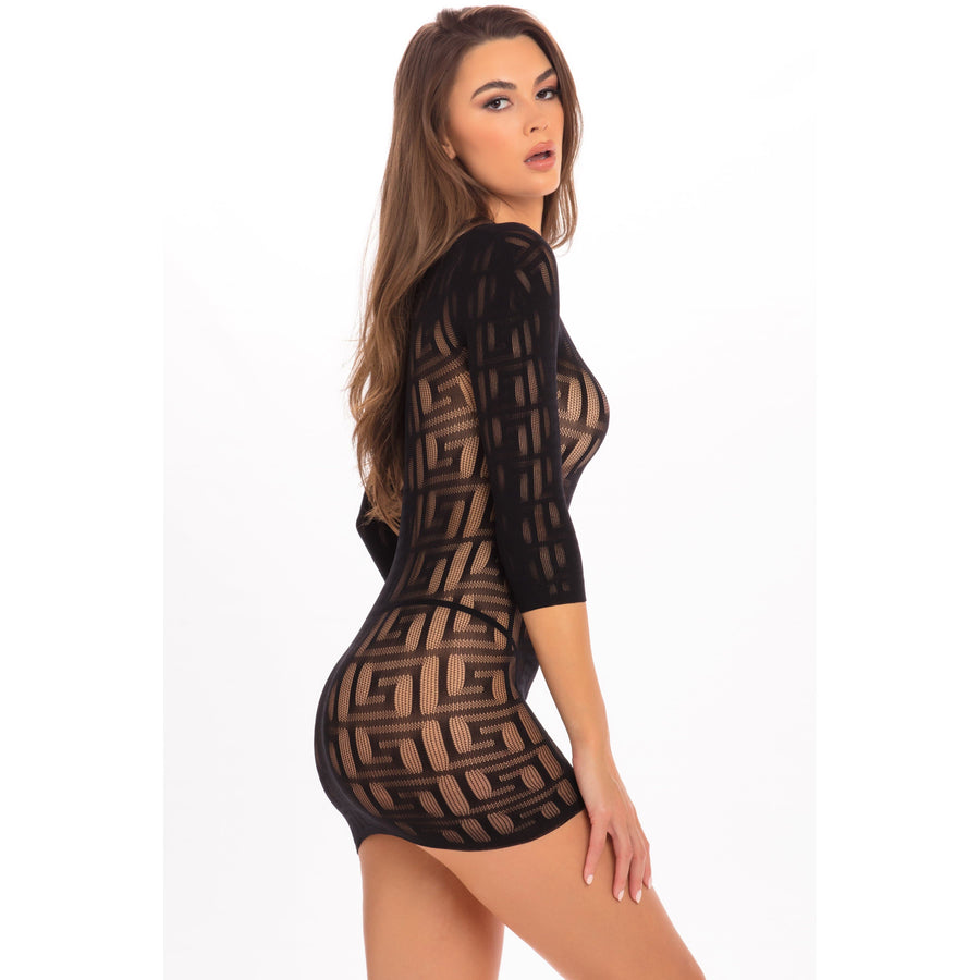 Rene Rofe - Exotic Geometry Mini Dress Costume M/L (Black) Costumes 017036502262 CherryAffairs
