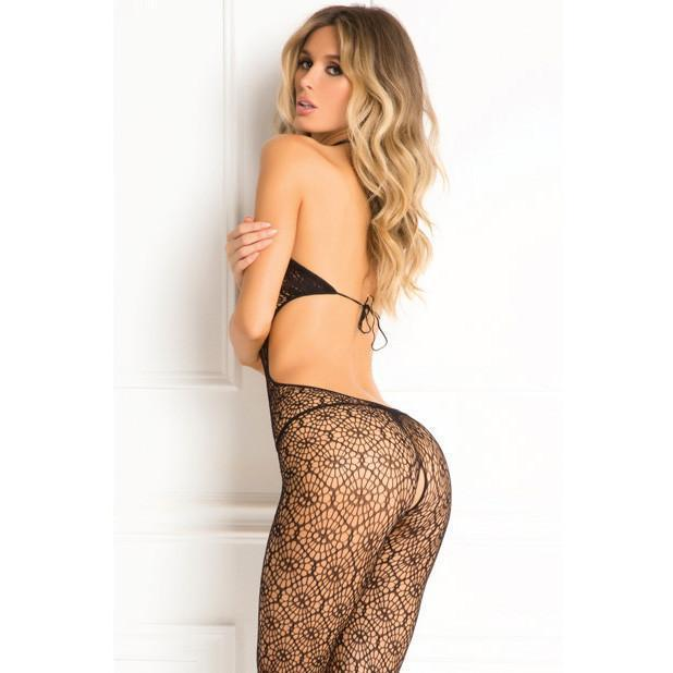Rene Rofe - Indiscreet Crochet Bodystocking O/S (Black) Costumes - CherryAffairs Singapore
