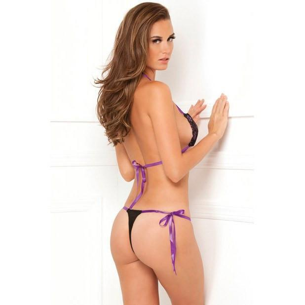 Rene Rofe - Lace Tie-Up Bra & Thong One Size (Black) Lingerie (Non Vibration) - CherryAffairs Singapore