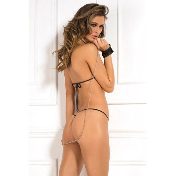 Rene Rofe - Pleather Bra, G-String & Chain Handcuffs One Size (Black) Lingerie (Non Vibration) - CherryAffairs Singapore