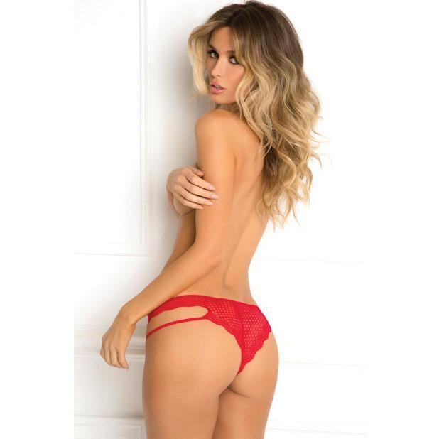 Rene Rofe - Strap Up Crotchless Tanga S/M (Red) Lingerie (Non Vibration) - CherryAffairs Singapore
