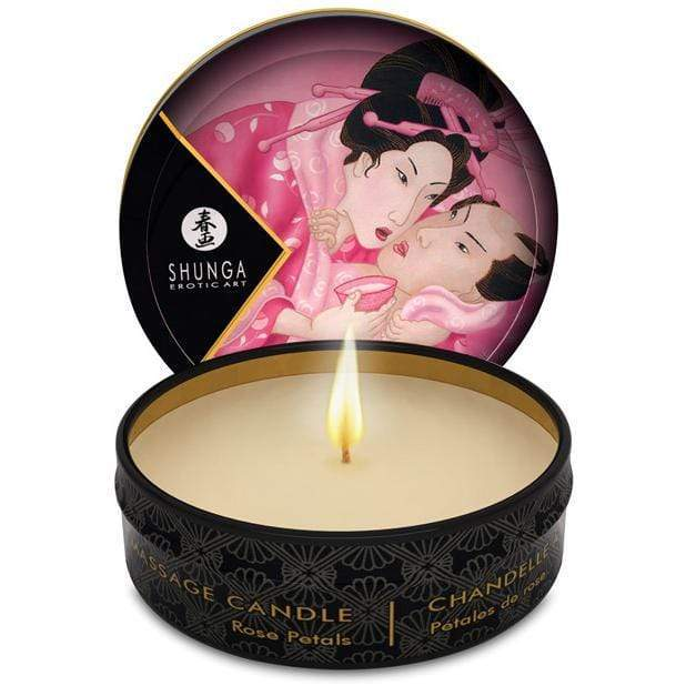 Shunga - Erotic Art Aphrodisia Mini Candlelight Massage Candle Rose Petals 1oz