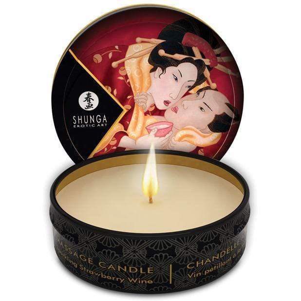 Shunga - Exotic Art Romance Mini Candlelight Massage Candle Sparkling Strawberry Wine 1oz