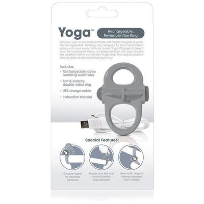 The Screaming O - Charged Yoga Rechargeable Reversible Cock Vibe (Grey) Rubber Cock Ring (Vibration) Rechargeable Singapore