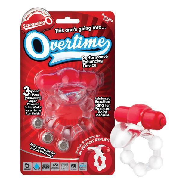 The Screaming O - The Overtime Performance Enhancing Vibrating Cock Ring (Red) Silicone Cock Ring (Vibration) Non Rechargeable Singapore
