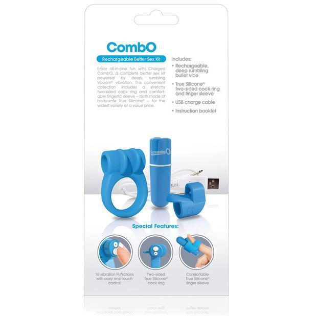 TheScreamingO - Charged CombO Rechargeable Better Sex Kit (Blue) Silicone Cock Ring (Vibration) Rechargeable Singapore