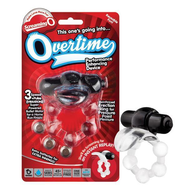 TheScreamingO - Overtime Beaded Vibrating Cock Ring (Black) Silicone Cock Ring (Vibration) Non Rechargeable Singapore