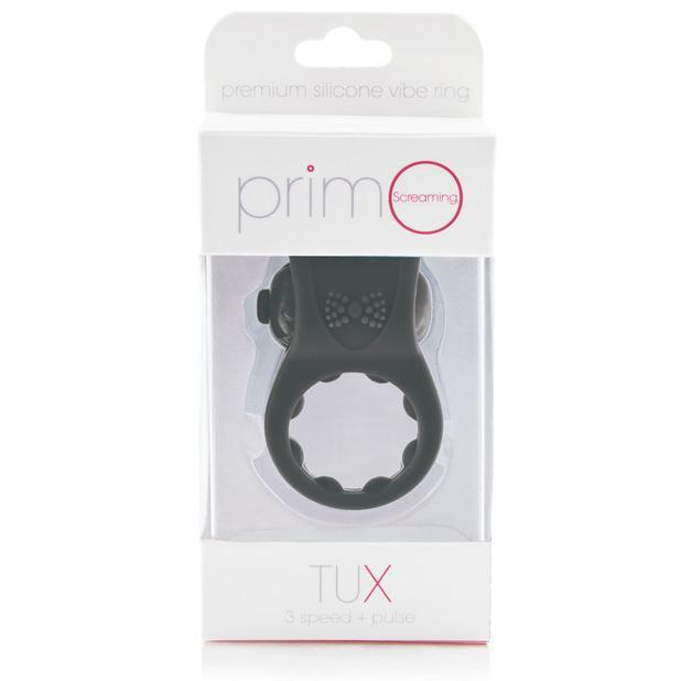 TheScreamingO - PrimO Tux Premium Silicone Vibrating Cock Ring (Black) Silicone Cock Ring (Vibration) Non Rechargeable Singapore
