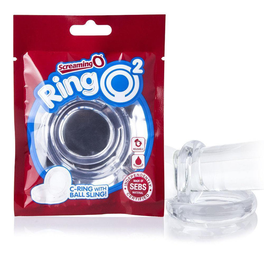 TheScreamingO - RingO2 Rubber Cock Ring with Ball Sling (Clear) Rubber Cock Ring (Non Vibration) Singapore