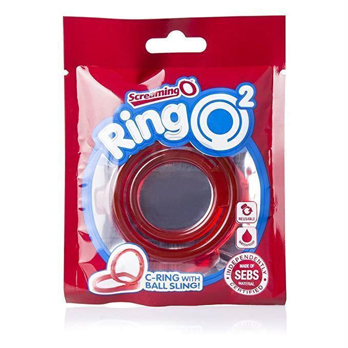 TheScreamingO - RingO2 Rubber Cock Ring with Ball Sling (Red) Rubber Cock Ring (Non Vibration) Singapore