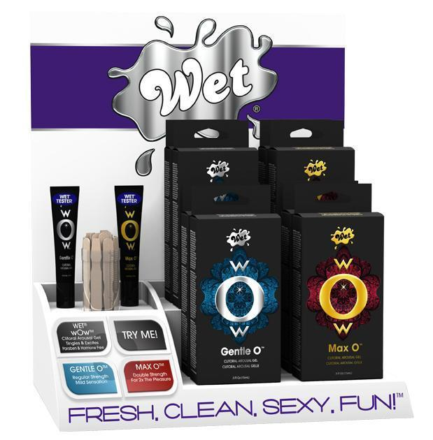 Wet - wOw Arousal Gel Countertop Display Set 8pcs with 2 Testers (Multi Colour)