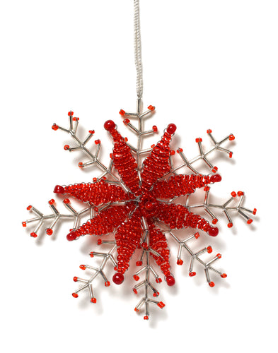 Delicate Snowflake Ornament in Red- Set of 2