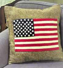 American Flag Cushion Cover in Hand Felted Wool - Arcadia Home