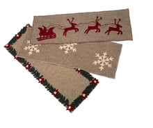 "Handmade Gray Hand Felted Wool Christmas Table Runner - Reindeer and Sleigh - 16""x44"" - Arcadia Home"