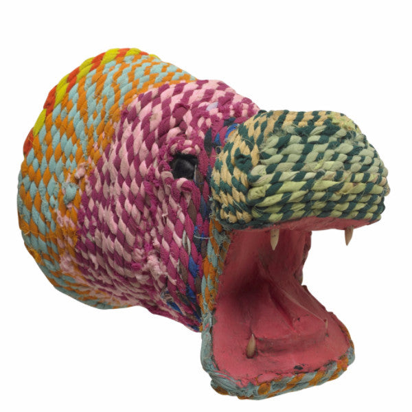 Decorative Hippo Head Made of Recycled Clothing - Arcadia Home