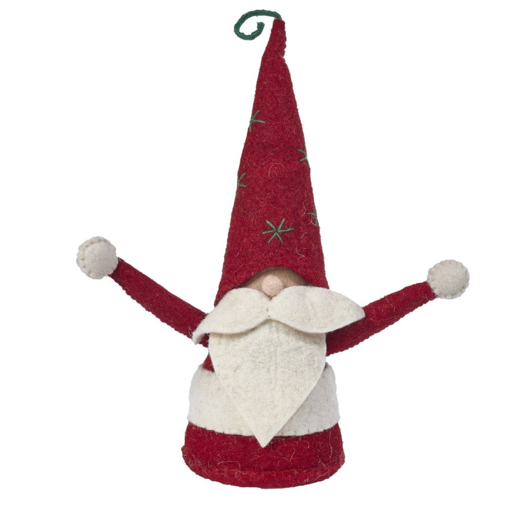 Handmade Christmas Gnome Figurine in Hand Felted Wool