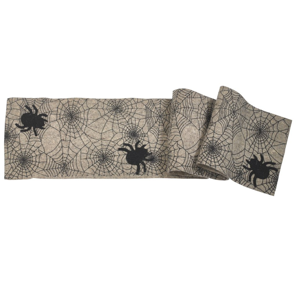 Hand Felted Wool Halloween Spider Web Table Runner - 14x72