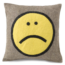 "Hand Felted Wool Happy Sad Face Pillow - 20"" - Arcadia Home"