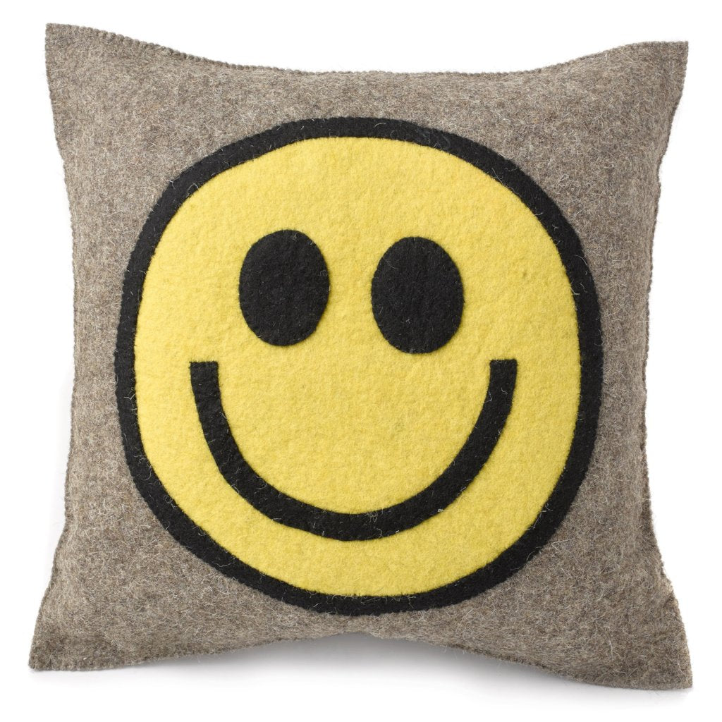 Hand Felted Wool Happy Sad Face Pillow - 20