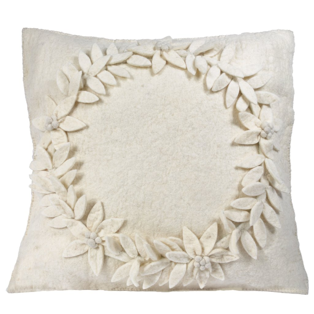 Hand Felted Wool Christmas Pillow Cover  –Cream Wreath – 20
