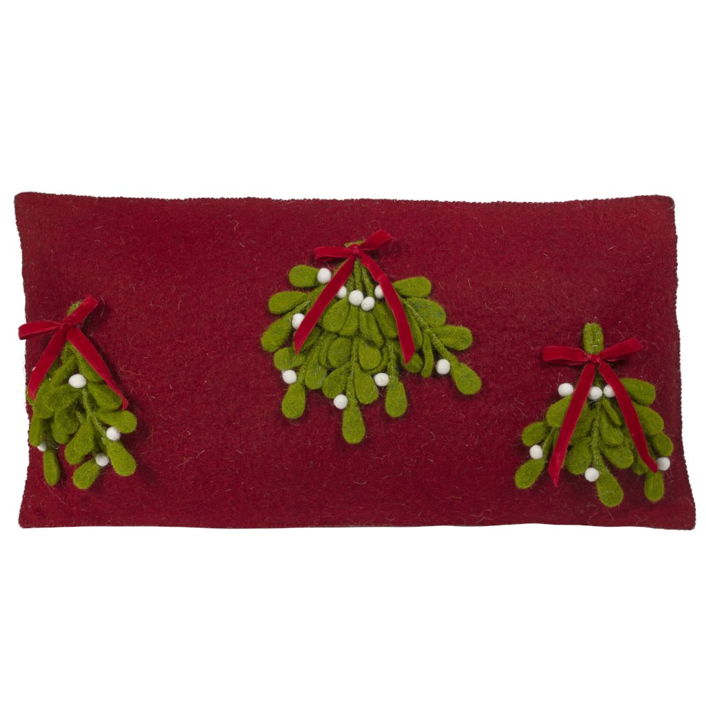 Hand Felted Wool Christmas Pillow Cover –Mistletoe on Red – 12