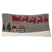 "Hand Felted Wool Christmas Pillow Cover – Sleigh with Village – 12x24"" - Arcadia Home"