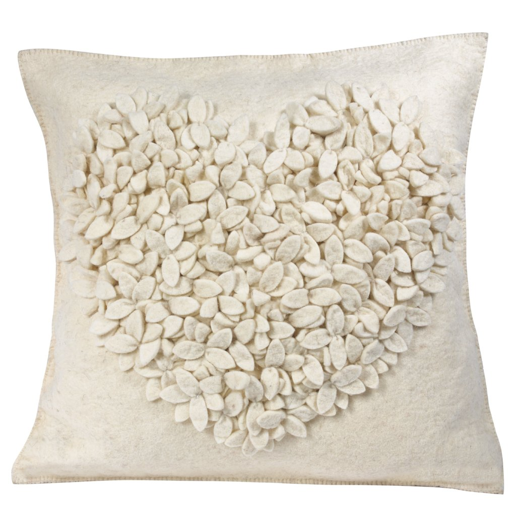 Hand Felted Wool Pillow Cover - Cream  Heart on Cream - 20