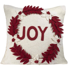 "Hand Felted Wool Christmas Pillow - JOY Wreath on Cream - 20"" - Arcadia Home"