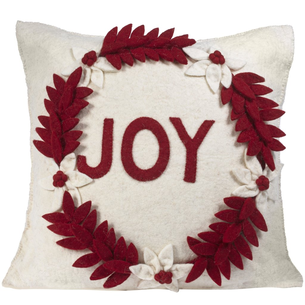 Hand Felted Wool Christmas Pillow - JOY Wreath on Cream - 20