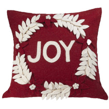 "Hand Felted Wool Christmas Pillow - JOY Wreath on Red - 20"" - Arcadia Home"