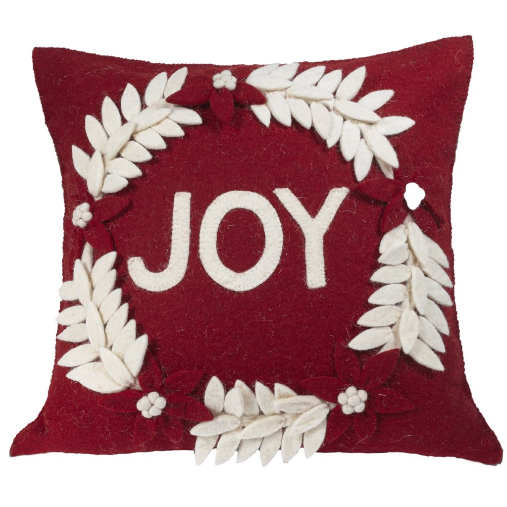 Hand Felted Wool Christmas Pillow - JOY Wreath on Red - 20