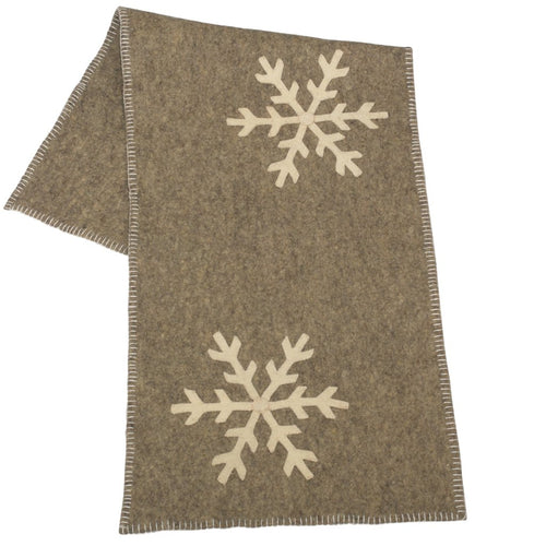 Handmade Gray Hand Felted Wool Christmas Table Runner - Snowflakes - 16